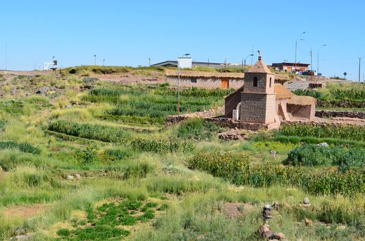 Socaire Spanish catholic church and Inca vegetable terraces