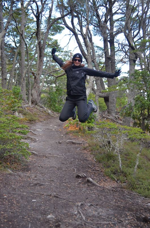 a jumping photo in Tierra del Fuego