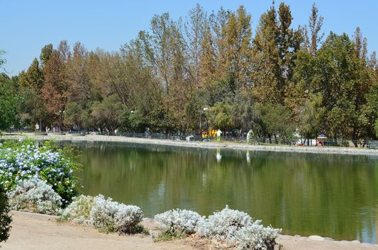 a lake in Parque de los Reyes in Santiago