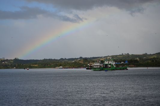 a rainbow on the ferry from Dalcahue to Chacao