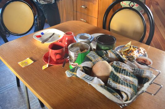 breakfast in a local accommodation in Cucao in Chiloe National Park