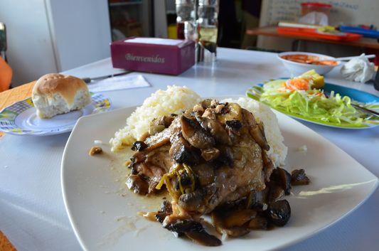 chicken with rice lunch in La Vega market in Santiago