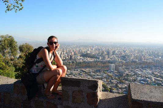 crazy sexy fun traveler at Cerro San Cristobal in Santiago de Chile
