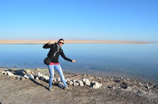 crazy sexy fun traveler at Chaxa lagoon