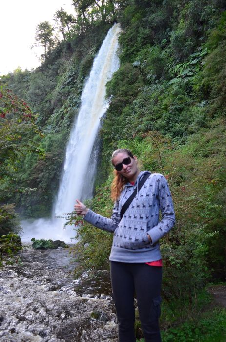 crazy sexy fun traveler at Tocoihue cascadas