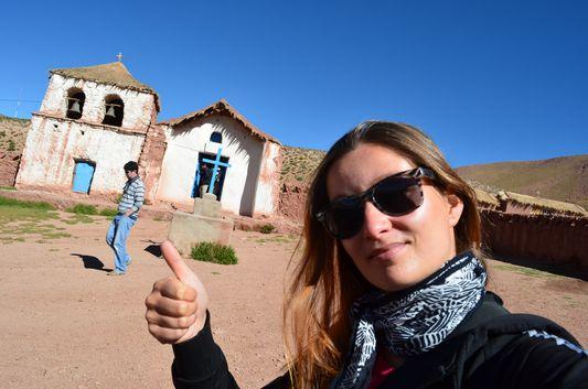 crazy sexy fun traveler at the church of Machuca