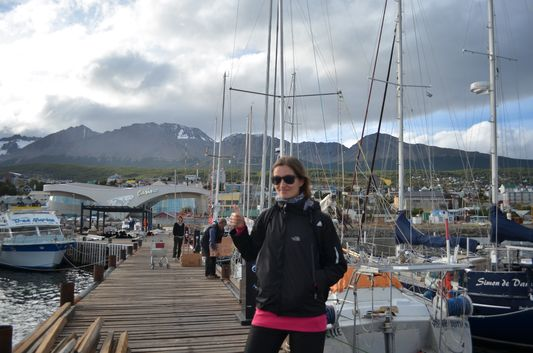 crazy sexy fun traveler in Ushuaia port