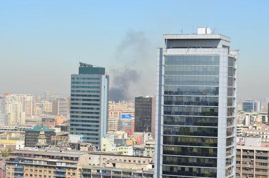 fire in Santiago seen from Cerro Santa Lucia