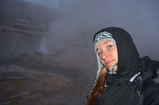 freezing at The Tatio geysers