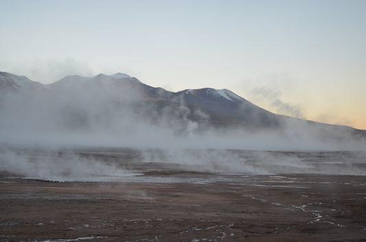 geysers El tatio just before sunrise
