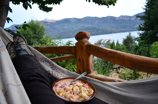 my healthy breakfast in a hammock looking at the lake Traful