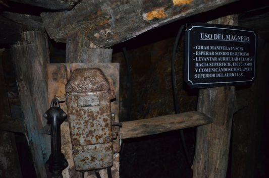 old magnetic telephone in Chiflon del Diablo mine in Lota