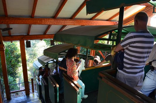 on the funicular to Cerro San Cristobal
