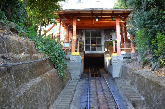 on the way up to Cerro San Cristobal by the funicular