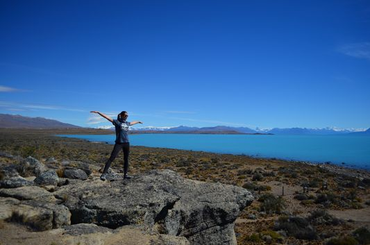 on top of Walichu caves overviewing Lago Argentino and Parque Nacional de los Glaciares