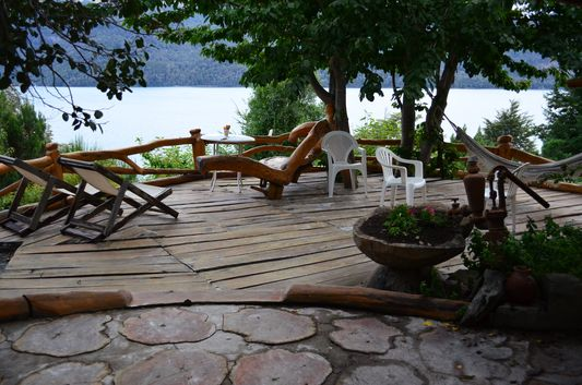 terrace with lake view in Ruca Lico cabanas