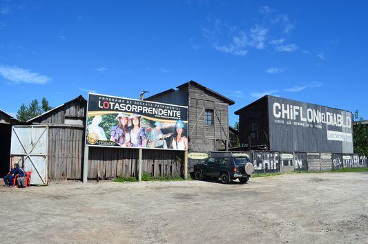 the entrance to Chiflon del Diablo mine in Lota
