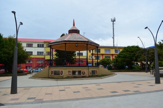 the main plaza with kiosco in Ancud
