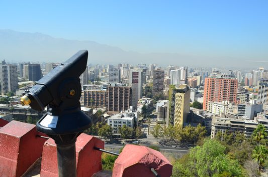 the view of Santiago de Chile from Cerro Santa Lucia