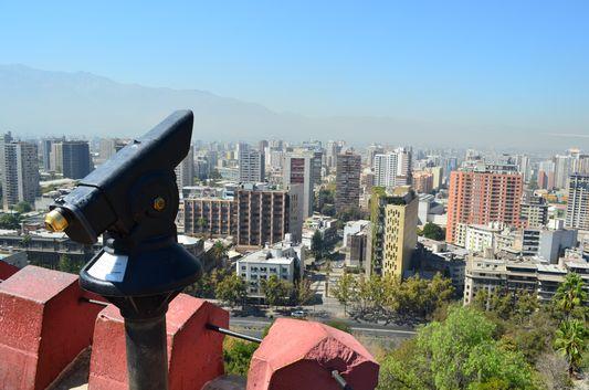 the view of Santiago de Chile from Cerro Santa Lucia