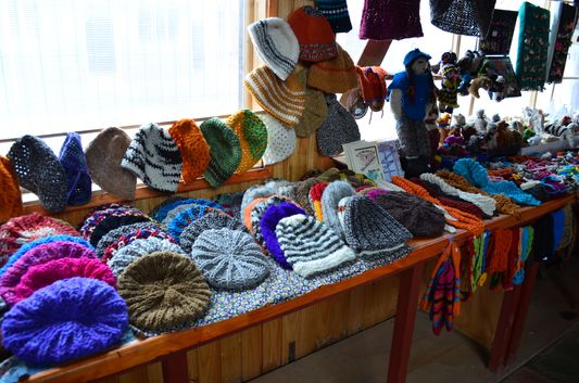 traditional hand-made woolen hats sold in Achao market