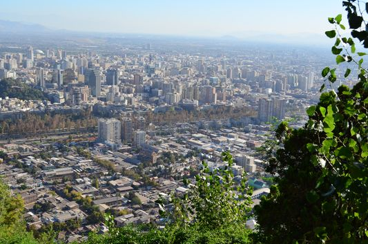 view of Santiago de Chile from San Cristobal Hill
