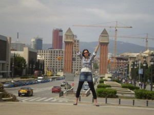 walking through Barcelona - at Plaza España