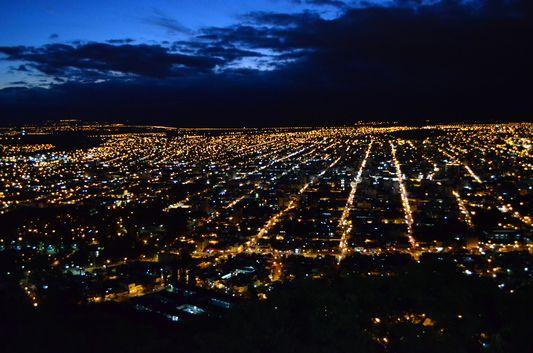 Salta town at night seen from San Bernardo hill