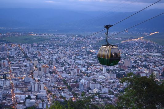 Salta town at the sunset
