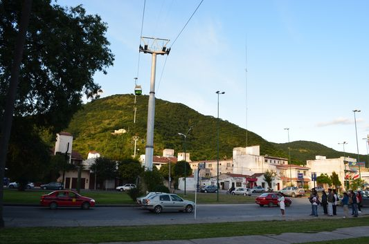 San Bernardo hill and cable car going to its top
