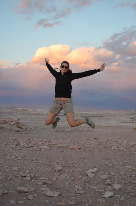 a jumping shot in Amphitheatre with Death Valley on the horizon