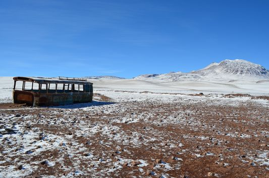 an old bus at the Bolivian Chilean border