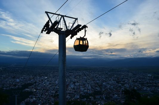 cable car on top of San Bernardo hill