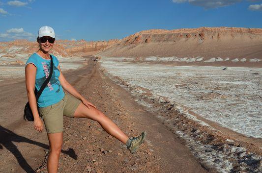 crazy sexy fun traveler happy in Valle de la Luna