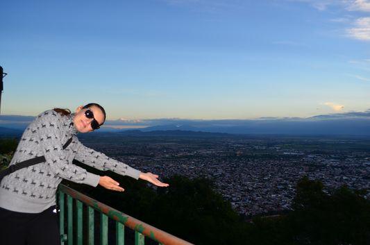 crazy sexy fun traveler on top of San Bernardo hill