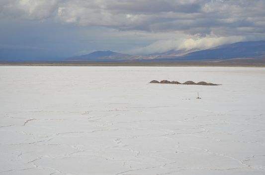 crossing salt flat Salinas Grandes