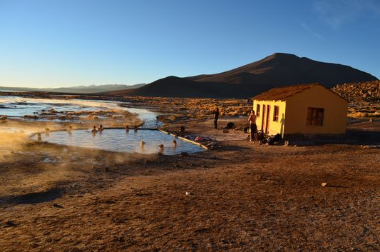 hot springs at Laguna Salada at sunrise