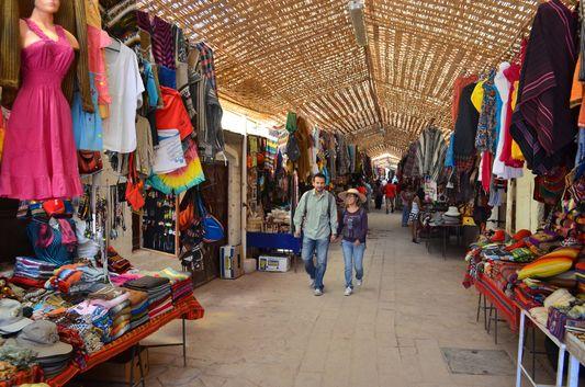 inside of Feria Artesanal in San Pedro de Atacama