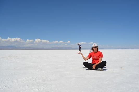 optical illusions in Uyuni Salt Flat