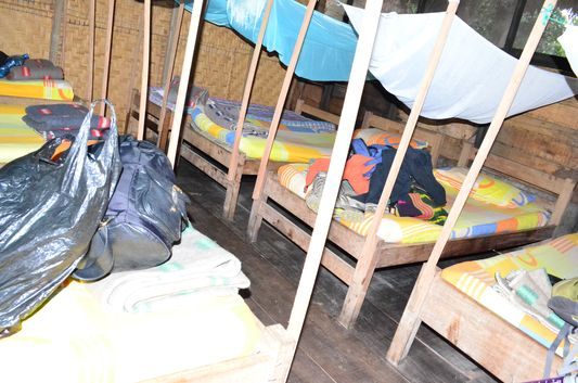 our room with beds and mosquito nests in ecolodge Indigena tours