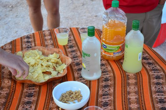 pisco sour and snacks at Laguna Piedra