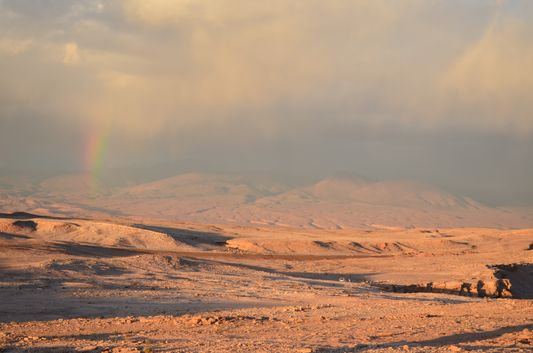 rainbow above Death Valley seen from the Amphitheatre