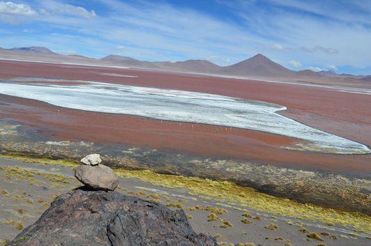 reddish Laguna Colorada with white borax
