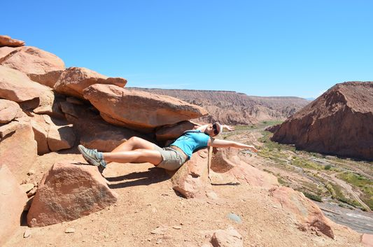 relaxing on the way up to the peak of Pukara de Quitor