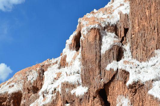 rocks covered with salt in Salt Mountain Range