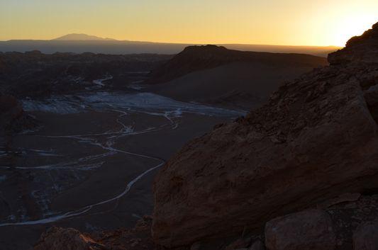 sunset above Salt Mountain Range in Atacama