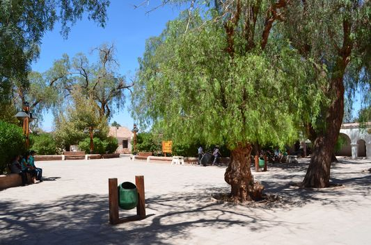 the main plaza in San Pedro de Atacama