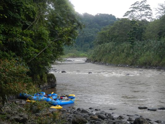 Pacuare river and our rafts at the place where we had lunch