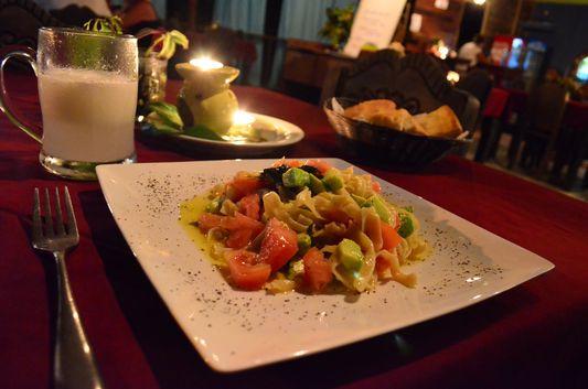 vegetarian pasta in Mediterraneo Mediterraneo restaurant