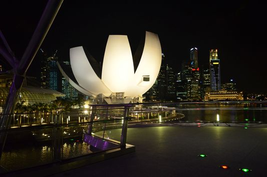 Science Museum in Singapore at night